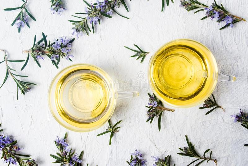 Rosemary tea with fresh plant and blossom royalty free stock image