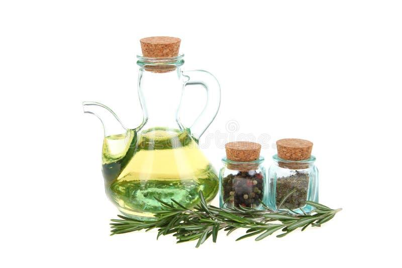 Rosemary und Olivenöl lizenzfreie stockbilder