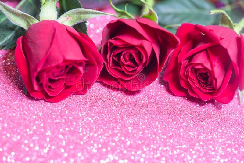 Rosen über rosa abstrakten Hintergrund mit Bokeh stockfoto