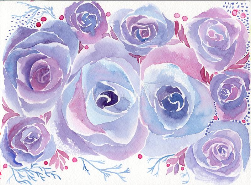 rosen Abstrakte Tapete mit Blumenmotiven watercolor tapete Dekorative Blumenanordnung vektor abbildung