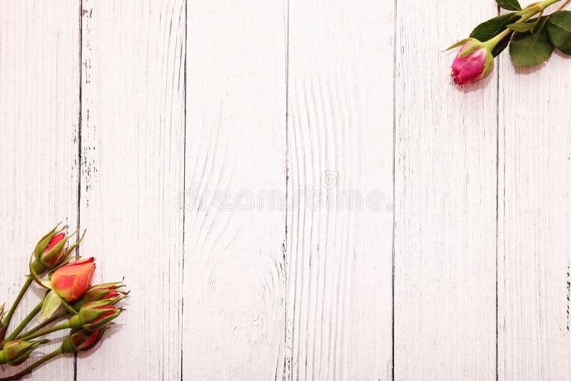 Rosen auf wei?em h?lzernem Hintergrund Feiertag und Liebeskonzept Hochzeit, Valentinstag, am 8. M?rz und der Tag der Frauen stockfotografie