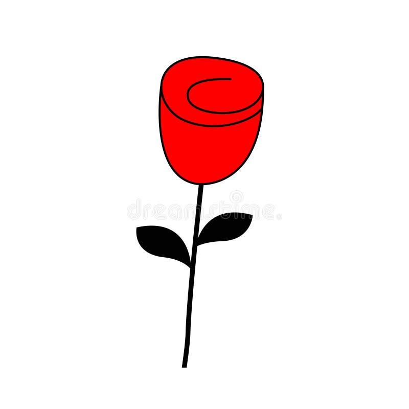 Rosen-Blumenblütenikone Glückliche Valentinsgruß-Tagesliebes-Grußkarte Rotes und schwarzes Farbschattenbild Knospe und Blätter Fl stock abbildung