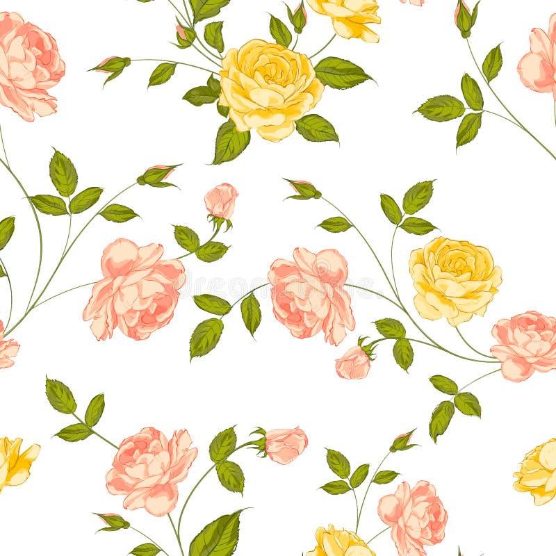 Rosen, Blumenhintergrund, nahtloses Muster. vektor abbildung