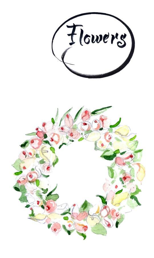 Rosen-Blumenkranz  Entwerfen Sie für Einladungs-, Hochzeits- oder Grußkarten Aquarellvektorillustration vektor abbildung