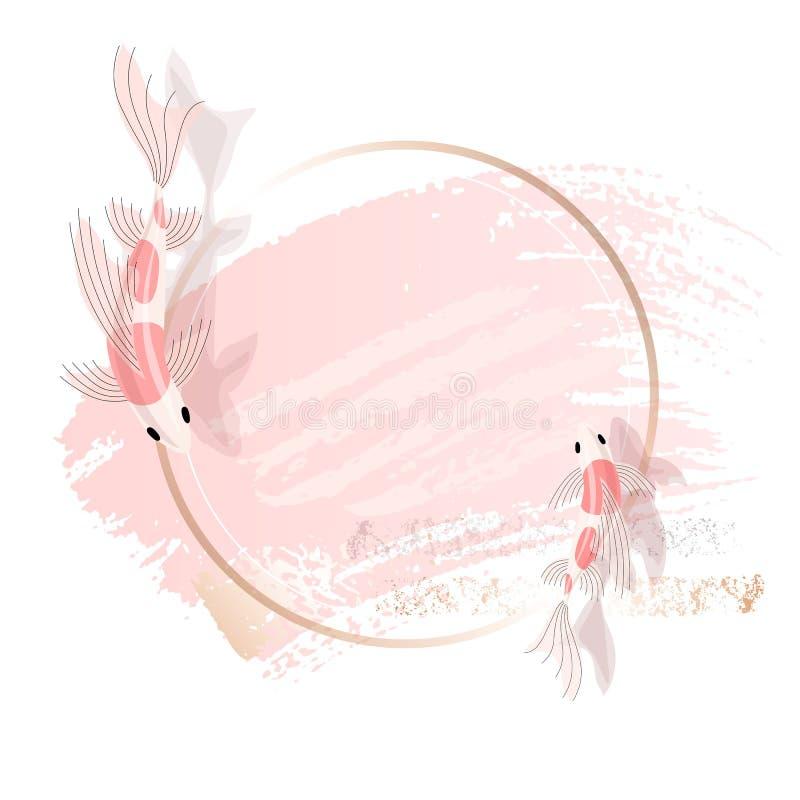 Rosen-Chinese, japanische Karpfen Elegante Art der Sch?nheitsidentit?t Hand gezeichneter Vektor vektor abbildung