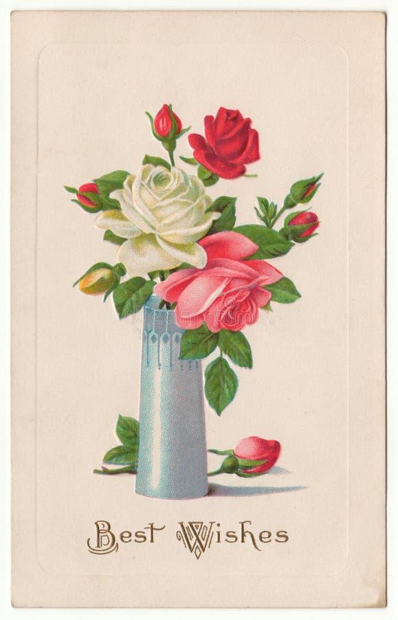 Rosen der besten Wünsche in der Vasen-Weinlese-Postkarte lizenzfreie abbildung
