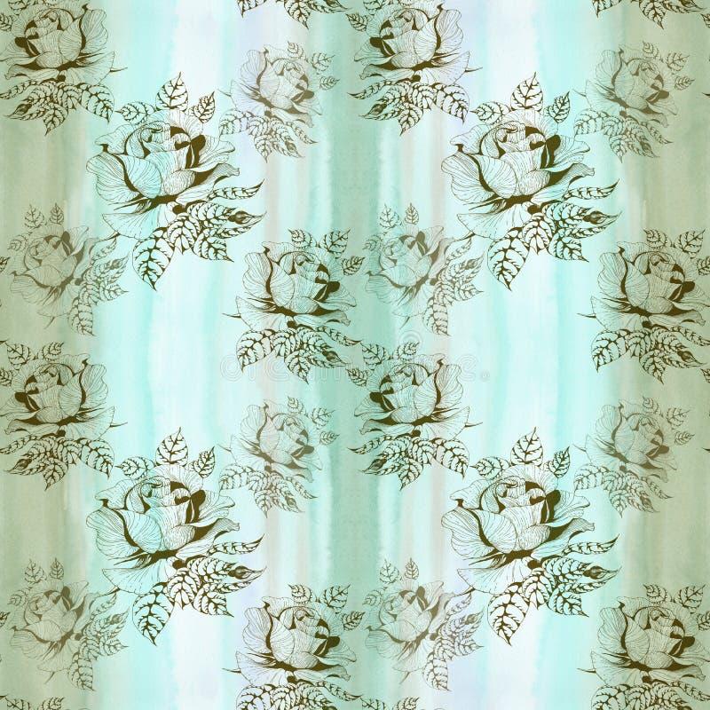 rosen Eine Niederlassung von Rosen mit Bl?ttern, Blumen und den Knospen watercolor Nahtloser Hintergrund Collage von Blumen und v vektor abbildung