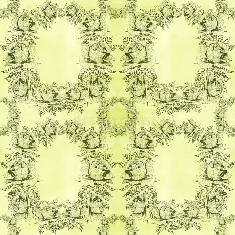 rosen Eine Niederlassung von Rosen mit Bl?ttern, Blumen und den Knospen watercolor Nahtloser Hintergrund Collage von Blumen und v lizenzfreie abbildung