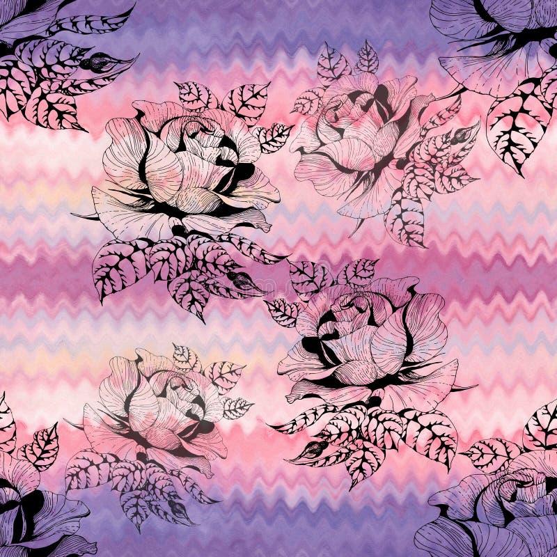 rosen Eine Niederlassung von Rosen mit Bl?ttern, Blumen und den Knospen watercolor Nahtloser Hintergrund Collage von Blumen und v stock abbildung