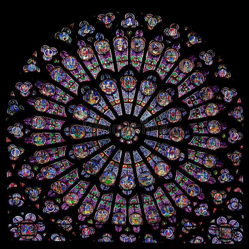 Rosen-Fenster von Notre Dame lizenzfreie stockfotos
