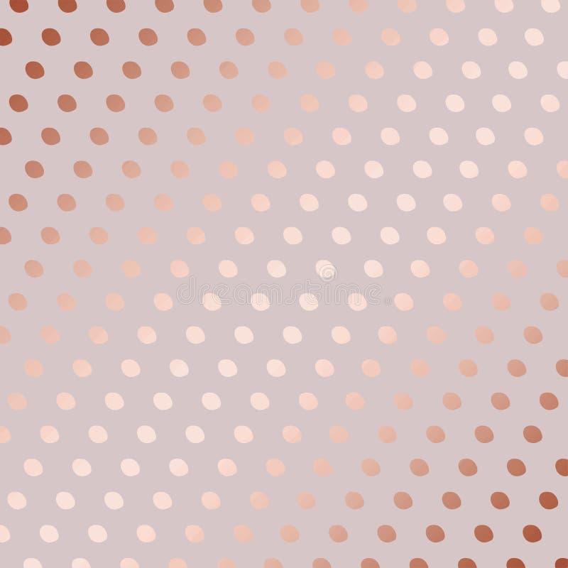 Rosen-Gold Dekoratives Vektormuster mit Punkten vektor abbildung