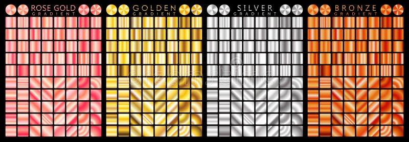 Rosen-Gold, goldene, silberne, Bronzesteigung, Muster, Schablone Satz Farben für Design, Sammlung Steigungen der hohen Qualität m vektor abbildung
