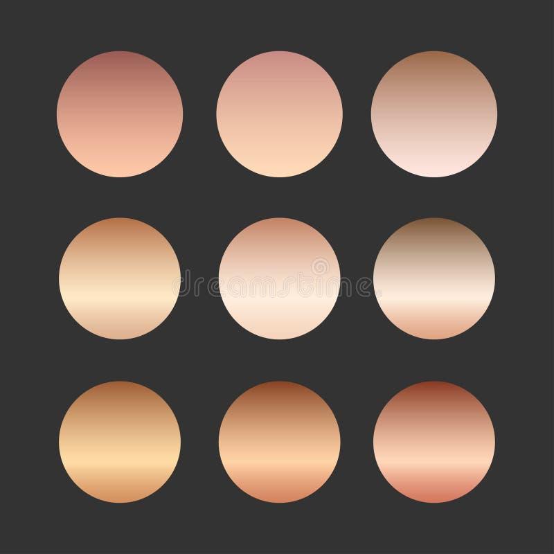 Rosen-Goldsteigungssammlung für Modedesign, Illustration lizenzfreies stockbild