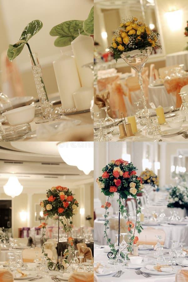 Rosen im Hochzeitsballsaal, multicam, Gitter, Schirm spalteten sich in vier Teilen auf stockbild