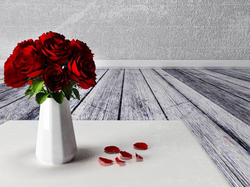 Rosen im Vase auf dem Teppich stock abbildung