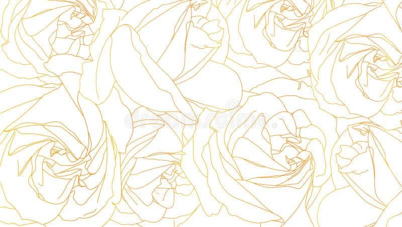Rosen knospen Entwürfe Blumenmuster mit Rosen Von Hand gezeichneter romantischer Hintergrund Art der Skizze oder des Gekritzels V vektor abbildung