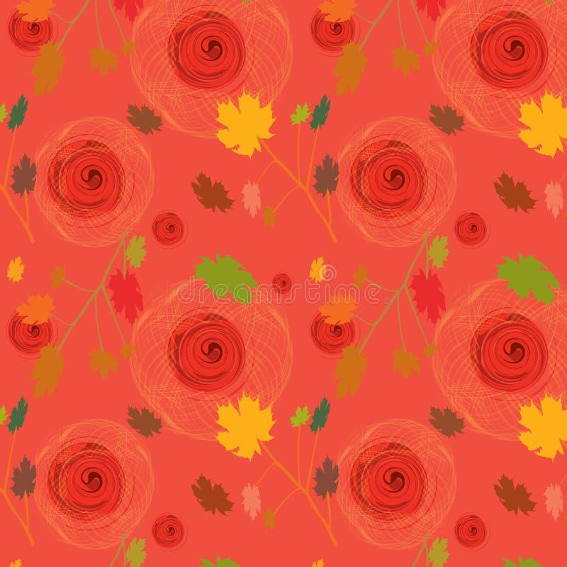 Rosen-nahtloser Hintergrund mit Ahornholzblättern lizenzfreie abbildung