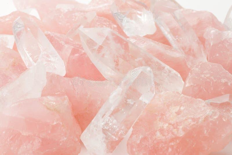 Rosen-Quarz und Kristall stockbilder