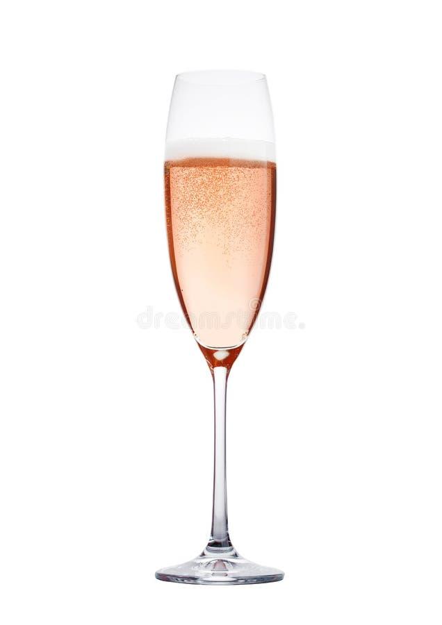 Rosen-Rosachampagnerglas mit den Blasen lokalisiert lizenzfreie stockbilder