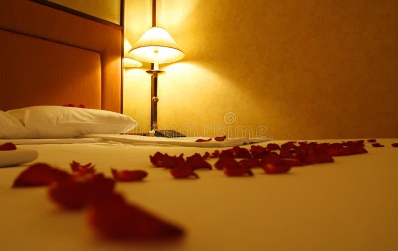 Rosen und Bett stockbild