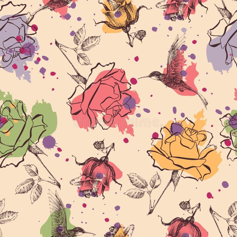 Rosen und colibri nahtloses Muster stock abbildung