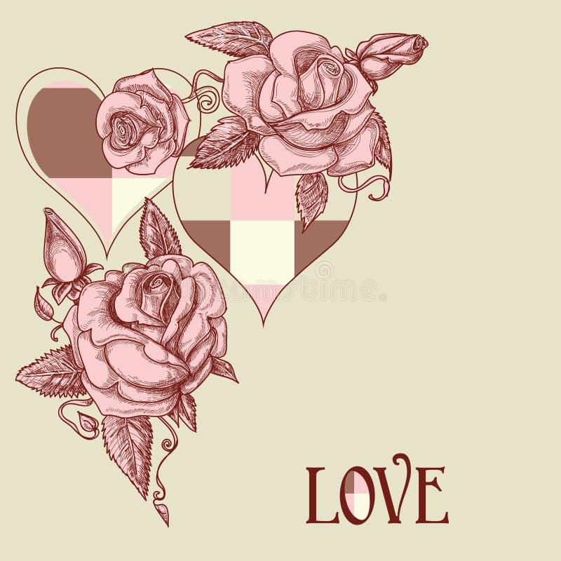 Rosen und romantische Karte der Herzen stock abbildung