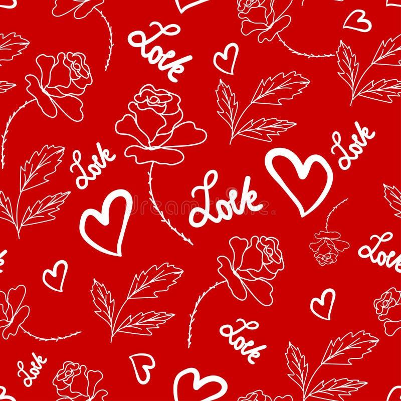 Rosen und weiße Herzen gemalt auf einer roten Farbe vektor abbildung