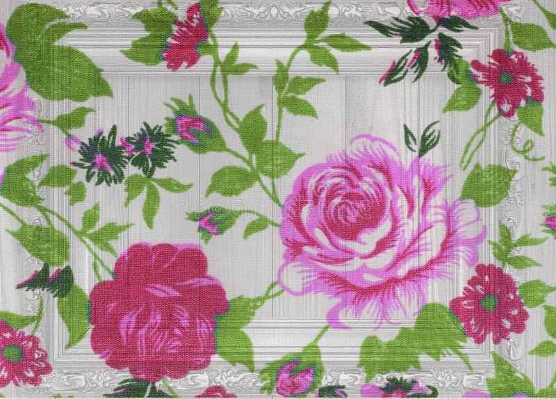 Rosen-Weinlese vom Gewebe auf weißem hölzernem stockbilder