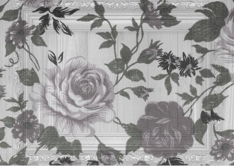 Rosen-Weinlese vom Gewebe auf weißem hölzernem lizenzfreies stockbild