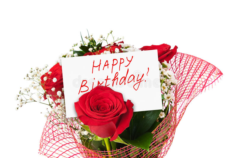 Rosenblumenstrauß und -karte alles Gute zum Geburtstag stockfoto
