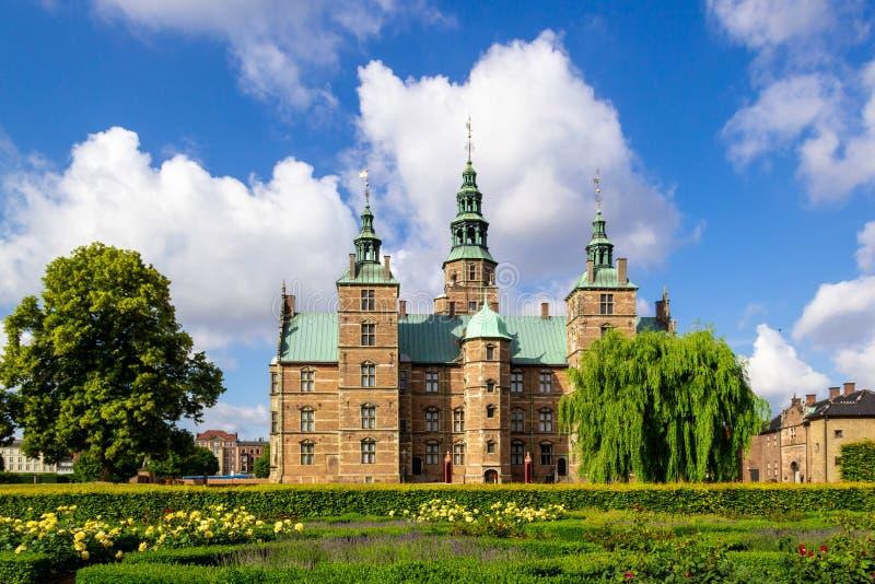 Rosenborg Castle in Copenhagen, Denmark. View of Rosenborg Castle from the King`s Garden with blue sky in the summer stock photography