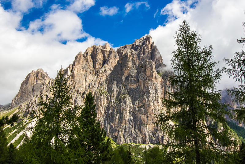 Rosengarten小组,意大利的看法在白云岩的 免版税库存照片