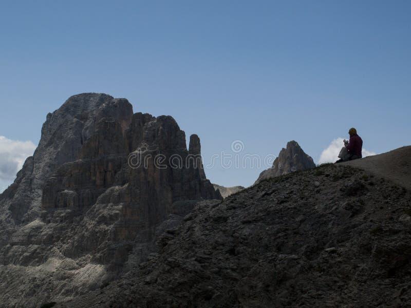 Rosengarten, κορυφή βουνών Catinaccio στοκ φωτογραφία