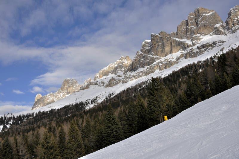 Rosengarten woods, dolomites. Scenic landscape of famous mountain in winter, shot in bright light stock images