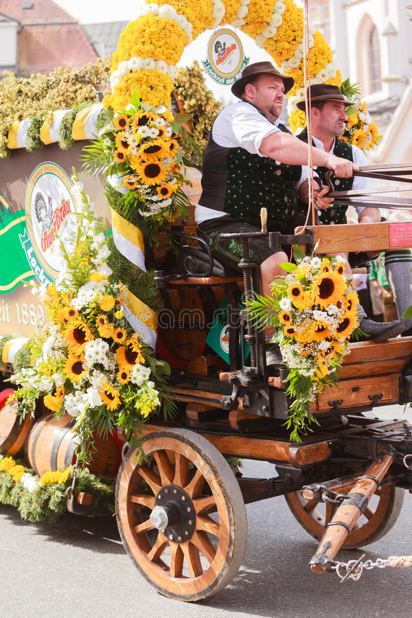 Rosenheim, Germany, 09/04/2016: Harvest festival parade in Rosenheim. Rosenheim, Germany - September 4, 2016: coachman of horse carts of AuerBräu brewery at royalty free stock images