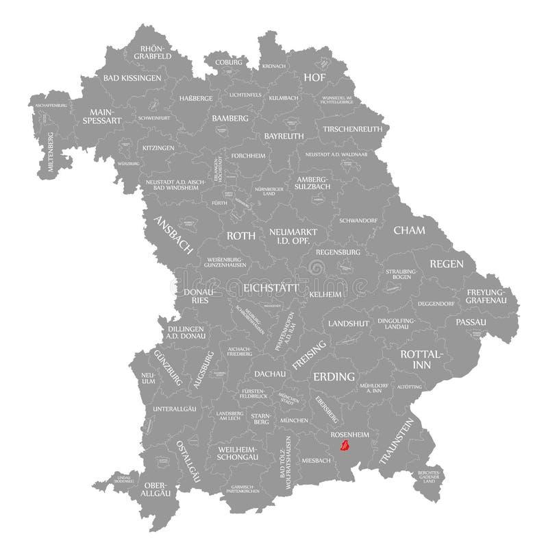 Rosenheim miasta czerwień podkreślająca w mapie Bavaria Niemcy ilustracja wektor