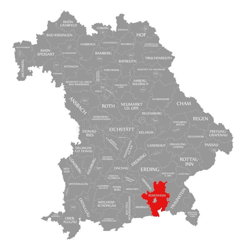 Rosenheim okręgu administracyjnego czerwień podkreślająca w mapie Bavaria Niemcy royalty ilustracja
