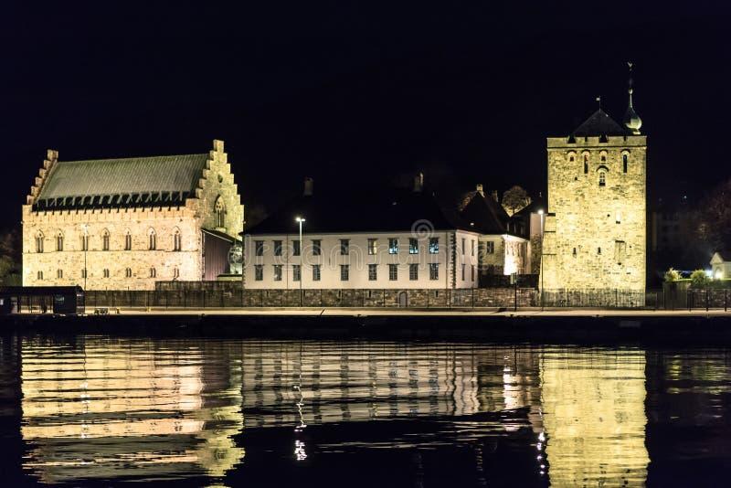Rosenkrantz塔和Haakon的霍尔 免版税库存图片