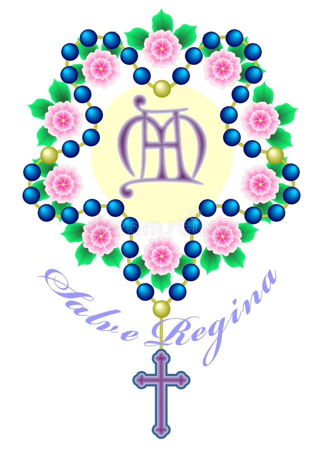 Rosenkranzperlen verwoben im Kranz von Rosen, mit einem Monogramm in der Mitte und die Aufschrift Salbe Regina lizenzfreie abbildung