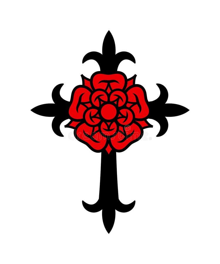 Rosenkreuz-Kreuz mit Rose stock abbildung
