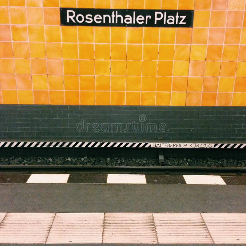 Rosenthaler Platz u-bahn station berlin. Platform at rosenthaler Platz u-bahn station royalty free stock photos