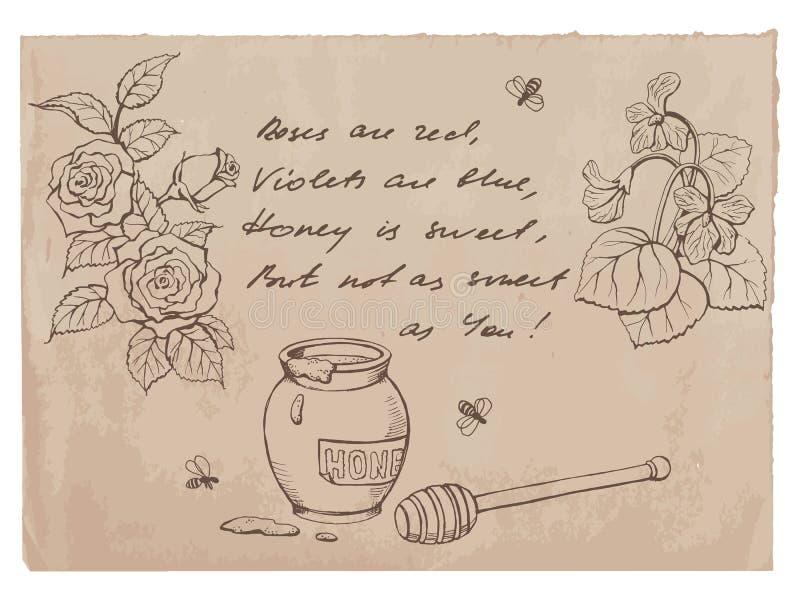 """Roses είναι κόκκινος, οι βιολέτες είναι μπλε έμμετρος λόγος † και σχέδια στο παλαιό υπόβαθρο εγγράφου απεικόνιση αποθεμάτων"
