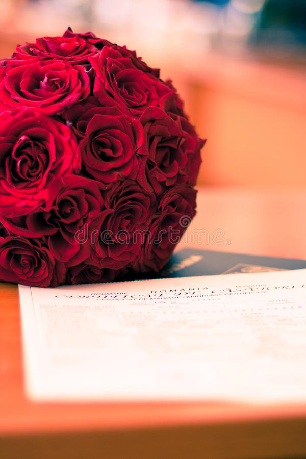 Download Roses And Marrige Certificate Stock Image - Image: 25338369
