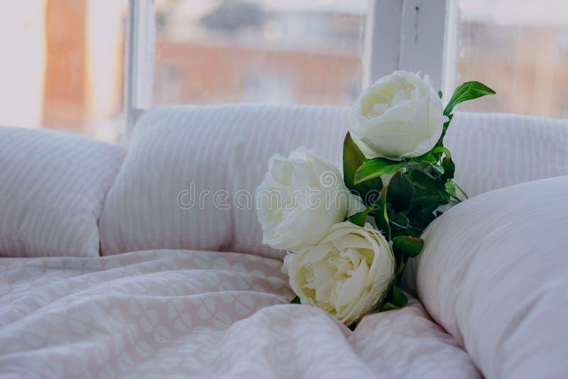 Roses artificielles blanches sur le lit par le plan rapproché de fenêtre photo stock