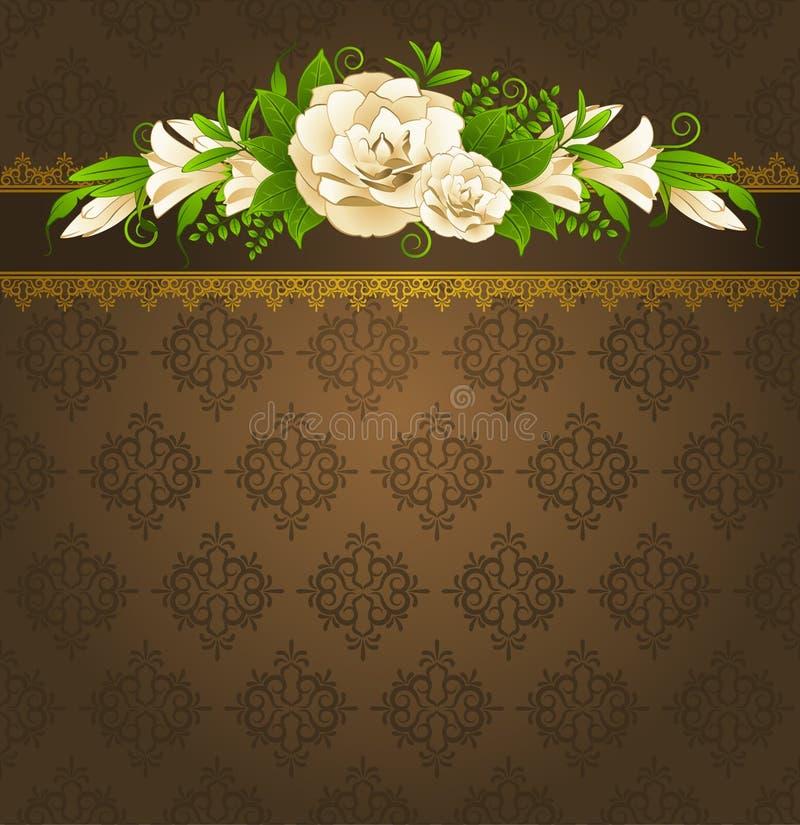 Roses avec des ornements de lacet illustration stock