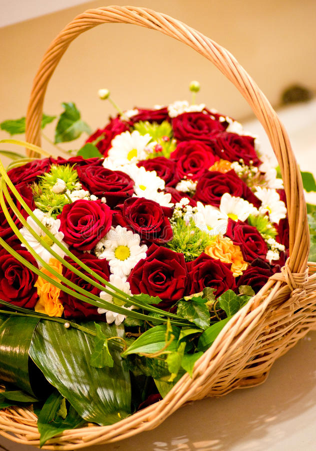 Roses In Basket Royalty Free Stock Images