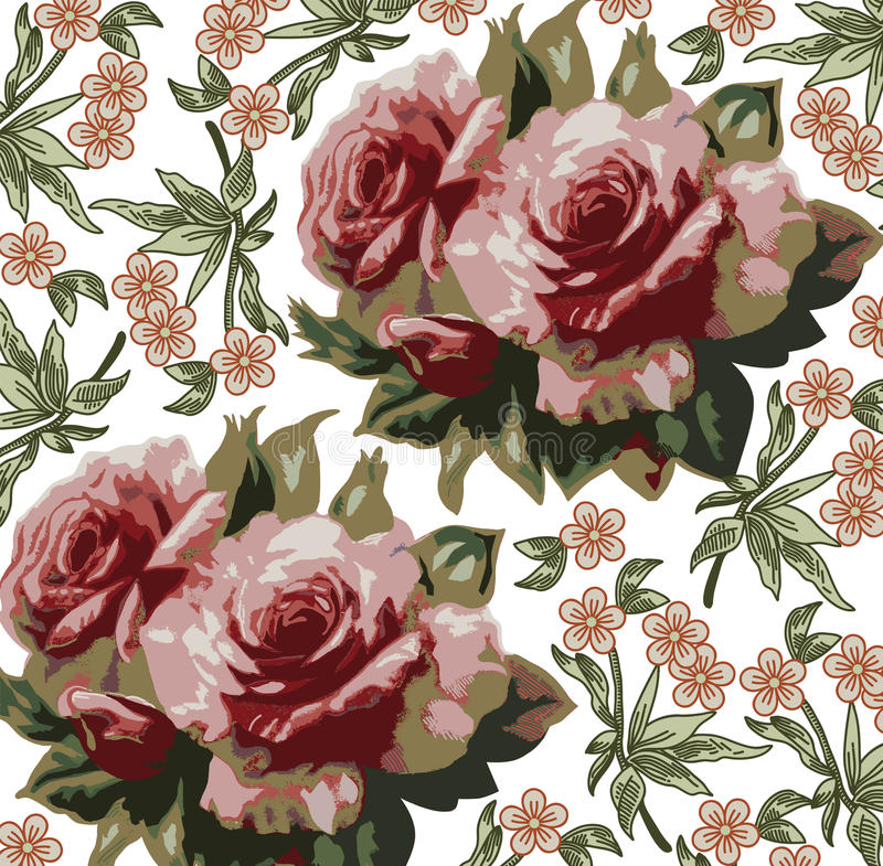 Roses pattern. Realistic isolated flowers. Vintage baroque background. Wallpaper. Drawing engraving. vector illustration