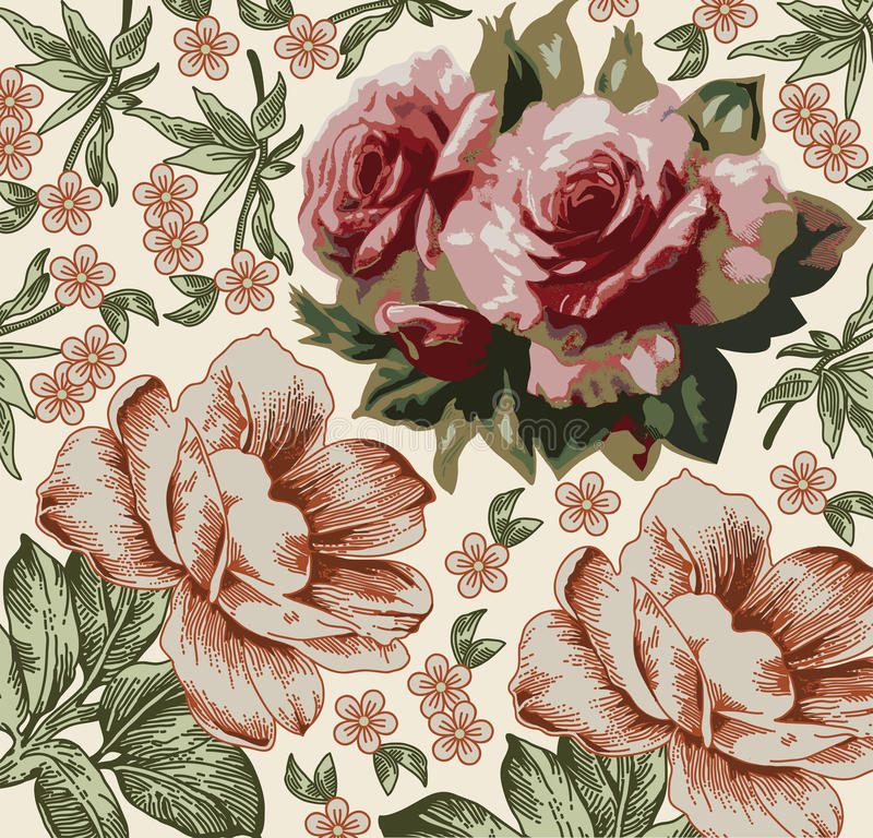 Roses pattern. Realistic isolated flowers. Vintage baroque background. Wallpaper. Drawing engraving. stock illustration