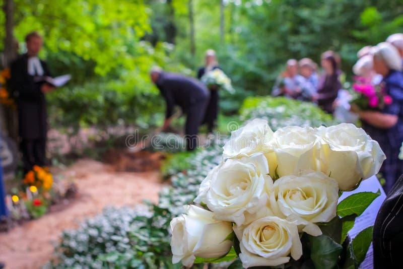 Roses blanches à l'enterrement près de la tombe photo stock