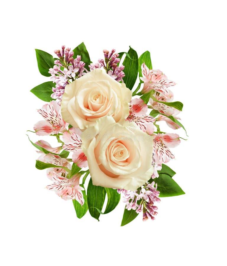 Roses blanches, alstroemeria et fleurs de lilas dans l'arrangeme de fête photos stock